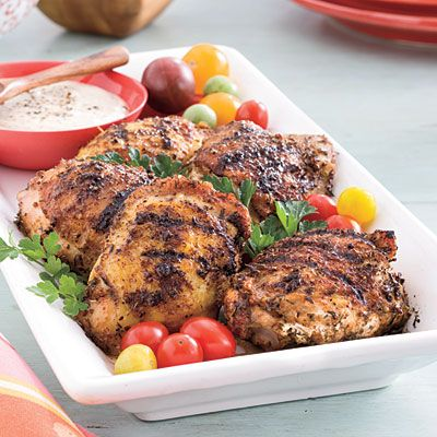 Grilled Chicken Thighs with White Barbecue Sauce | Love white BBQ sauce!