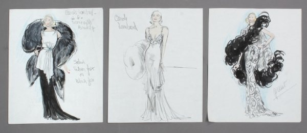 3 watercolor, pen, & pencil on paper, sketches of Edith Head designs for Carole Lombard costumes w/ notes regarding material & scenes