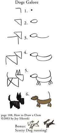 "How to Draw Dogs Galore (drawing lesson #24 & #25 from ""How to Draw a Clam: A Wonderful Vacation Planner"" by Joy Sikorski)"
