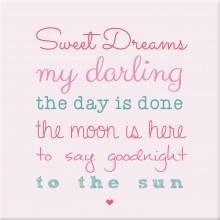 kinderkamer schilderij sweet dreams pastel roze