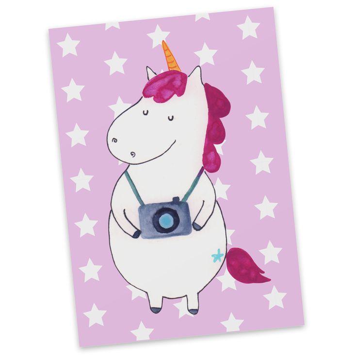 Postkarte Einhorn Fotograf aus Karton 300 Gramm  weiß - Das Original von Mr. & Mrs. Panda.  Diese wunderschöne Postkarte aus edlem und hochwertigem 300 Gramm Papier wurde matt glänzend bedruckt und wirkt dadurch sehr edel. Natürlich ist sie auch als Geschenkkarte oder Einladungskarte problemlos zu verwenden. Jede unserer Postkarten wird von uns per hand entworfen, gefertigt, verpackt und verschickt.    Über unser Motiv Einhorn Fotograf  Das fotografierende Einhorn ist ein super Geschenk für…