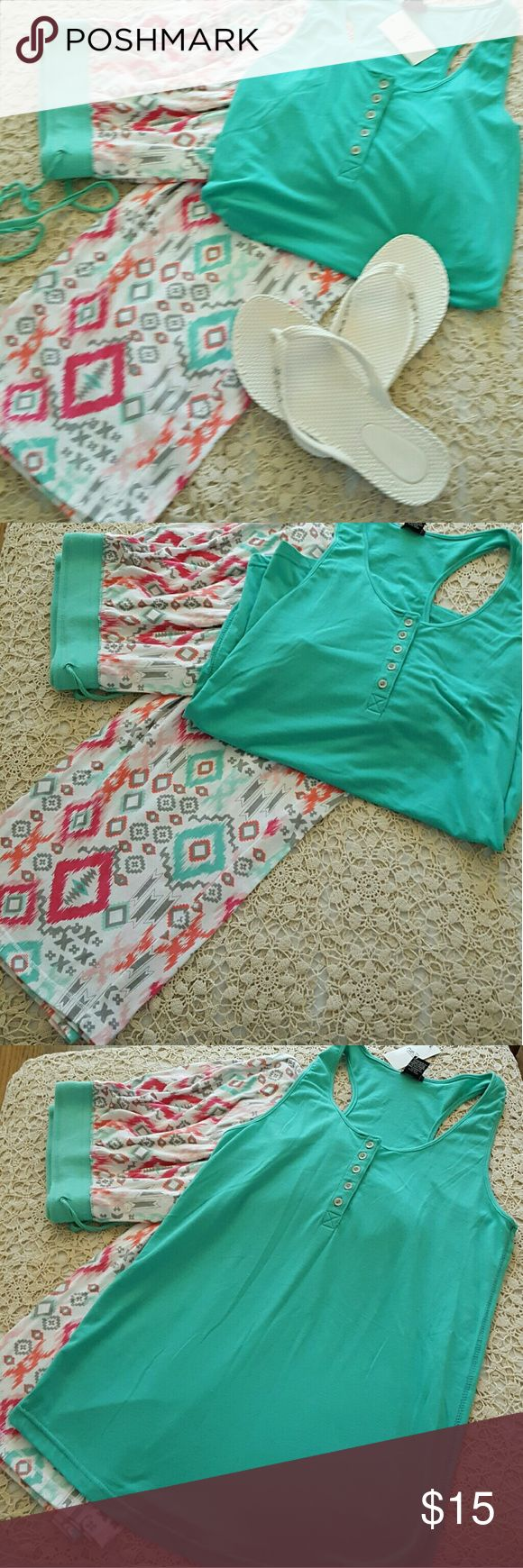 NWT Razor Back Mint Green Top SUPER cute Rue 21 razortop in mint green.  Shoes and lounge pants also sold separately in the closet. Rue 21 Tops