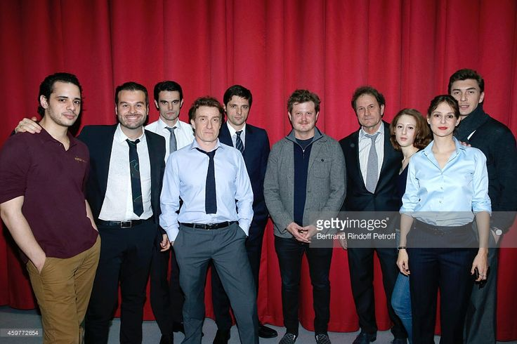 Adel Djemai, Stage Director Ladislas Chollat, Julien Personnaz, Thierry fremont, Raphael Personnaz, Autor Beau Willimon, Francis Lombrail, Roxane Durand, Elodie Navarre and Jeoffrey Bourdenet attend the 'Les Cartes Du Pouvoir', Piece of Theatre after 'Farragut North' by Beau Willimon. Adaptation of Francis Lombrail, Ladislas Chollat and Anne Jeanvoine : Photocall at Theatre Hebertot on November 29, 2014 in Paris, France.