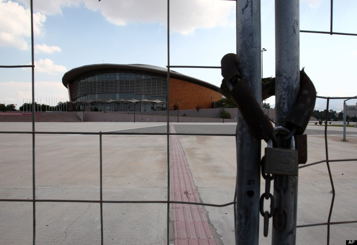Athens Olympic Venues  The gate to the Olympic taekwondo and handball arena is locked in southern Athens, Thursday, Aug. 2, 2012. The purpose-built arena has been occasionally used for non-sporting events since the Athens 2004 Olympics