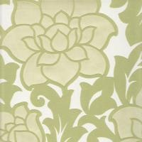 Elegant padded wallpaper with large sytlised flower and leaf allover design in pearl lustre, lime and olive green. Resene: Akoya 289074