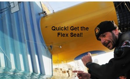 Could a can of Flex Seal have saved the Costa Concordia? Umm...doubtful.