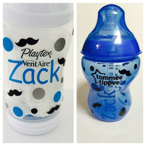 Mustache vinyl customized baby bottle decal snack cup decal sippy cup decal