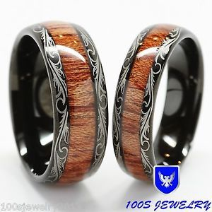 Men-Womens-Tungsten-Carbide-Wedding-Band-Wood-Inlay-Comfort-Fit-Ring-Set