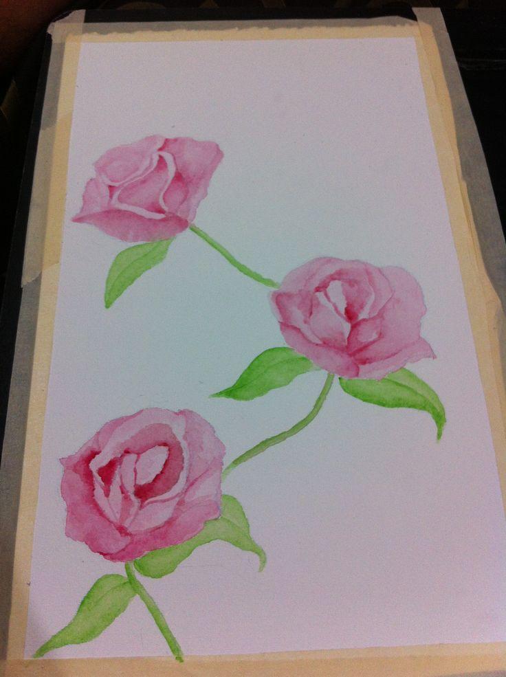 Rosas en acuarela