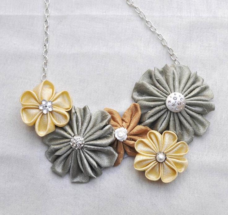 Dupioni silk Kanzashi bib necklace