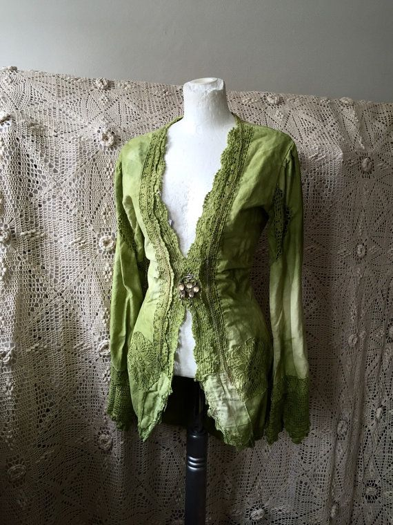 Victorian inspired jacket ,Elven fairytale inspired ,olive green, handmade,hand dyed cotton jacket,delicate lace,wedding jacket,boho style,
