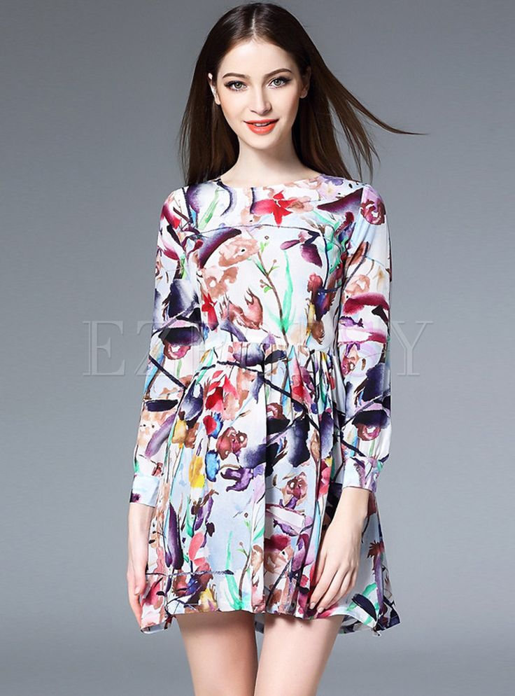Shop for high quality Cute Print Pleated Three Quarters Sleeve Skater Dress online at cheap prices and discover fashion at Ezpopsy.com