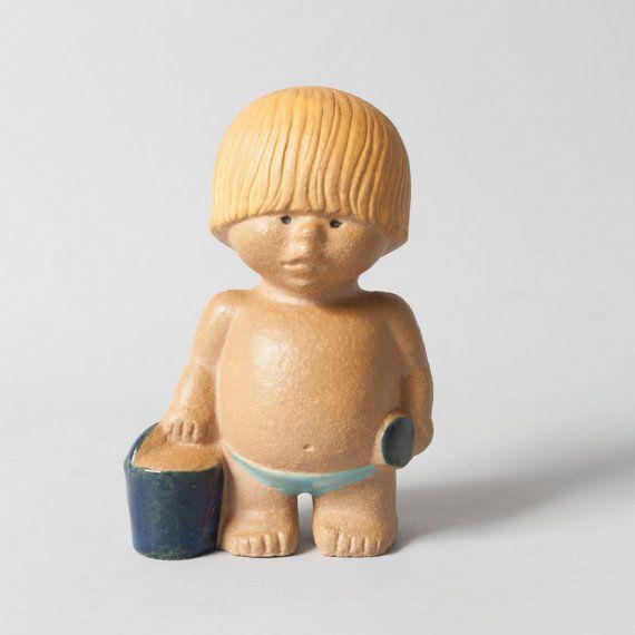 gustavsberg boy lisa larsson figure mid century sweden collectible stoneware