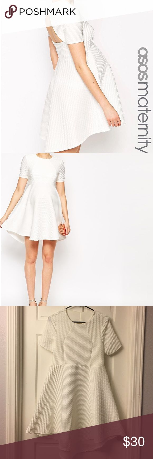 Asos maternity skater dress White maternity dress, beautiful stretch textured pattern with open back, very flattering! Worn once. ASOS Maternity Dresses Backless