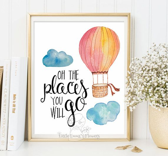 Oh the places you will go print nursery decor with balloon, cute kids wall decor in pastel colors, colorful hot air balloon art 2-64 – Baby Baker