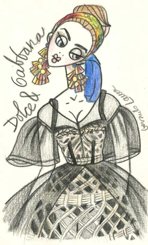 An amazing Dolce & Gabbana sketch. Illustration.Files: Dolce & Gabbana S/S 2013 by Gerardo Larrea | Draw A Dot.