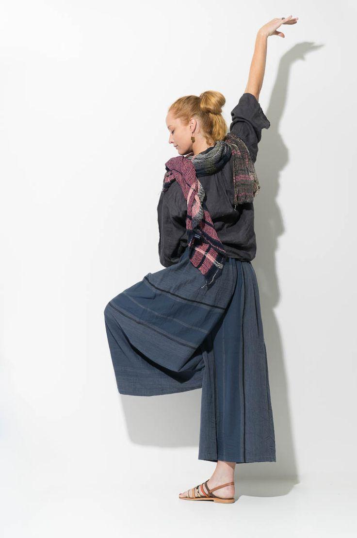 Lauren wears modern Japanese pants, available from wabizest.com