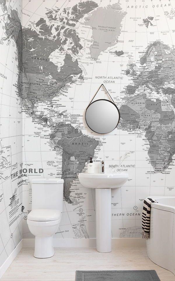 Black White Map Wallpaper Mural Murals Wallpaper In 2021 Small Bathroom Wallpaper Mural Wallpaper Bathroom Wallpaper