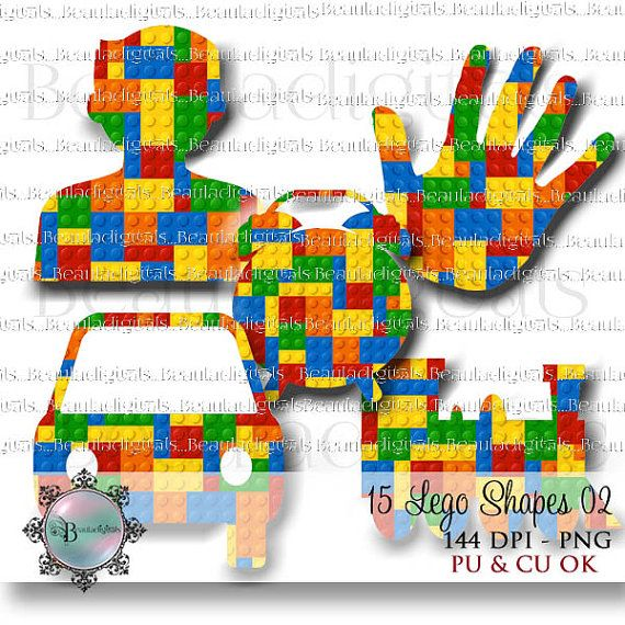 15 Lego Shapes blue yellow red green Colors 02  by Beauladigitals