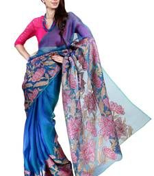 Buy Blue plain organza silk saree with blouse organza-saree online