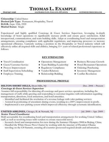 8 best Resume Samples images on Pinterest Sample resume, Resume - resume template for hospitality