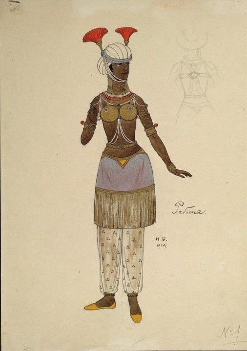 Costume design (1909), by Ivan Bilibin [Иванъ Яковлевичъ Билибинъ] (1876-1942), for The Golden Cockerel [Золотой петушокъ] (1907), by Nikolay Rimsky-Korsakov [Николай Андреевичъ Римскій-Корсаковъ] (1844-1908).