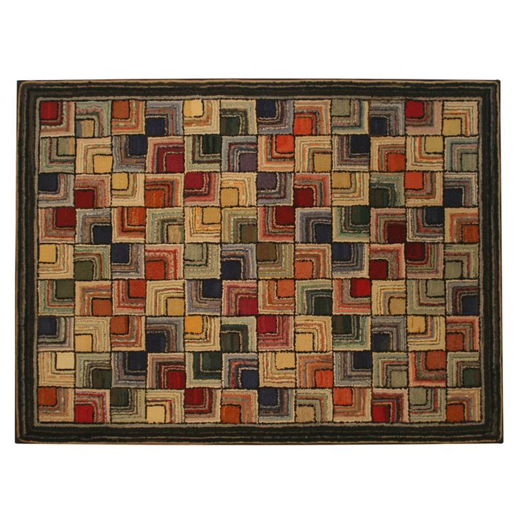 """Antique Hooked Rug:  Geometric - America  Early 20th-Century  Bold, graphic geometric with vivid colors in """"Log Cabin"""" inspired design. Mounted on stretcher. Woodard & Greenstein Antiques"""