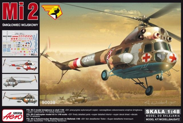 PZL Mi-2 Army Helicopter. Aeroplast, 1/48, rebox 2013 (ex Aeroplast 2013 No.90035, changed decals only), No.90038. Price: 27,13 EUR (marketplace). Decals 14 variants (6x Polish Air Force, 1x Soviet Army, 2x Russian Army, 3x German Army and 2x Czech Air Force).