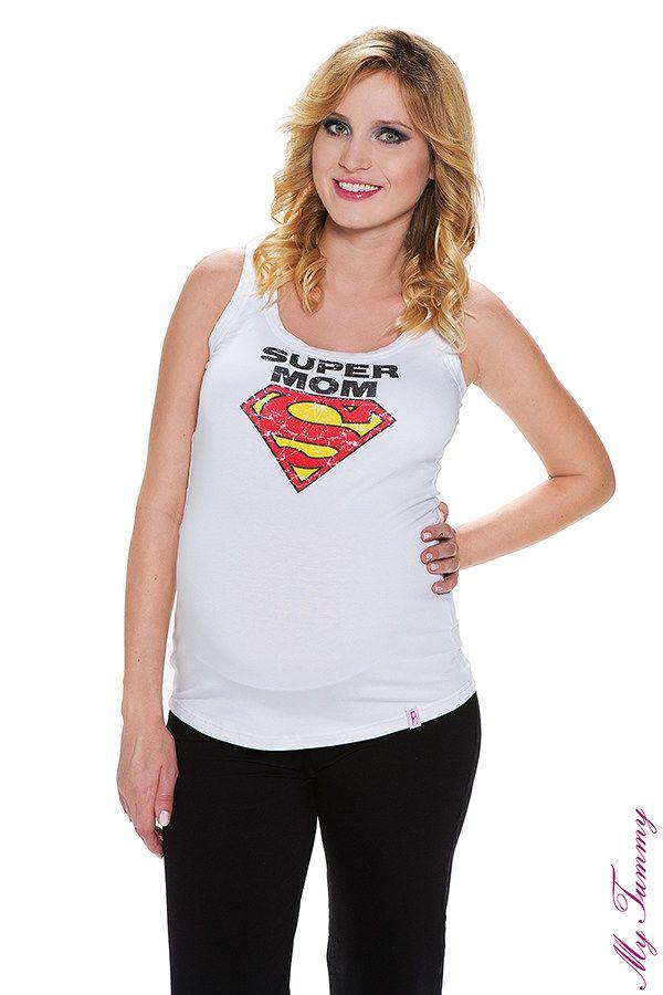Koszulka ciążowa na ramiączkach Super Mom
