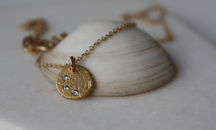 Gold CZ Disc Necklace, 14K Gold Filled chain Necklace, Disc with Crystals Necklace, Three Wishes Charm Necklace, Symbolic Necklace