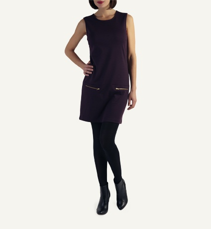 Tunic Dress: Sleeveless, Drop Waist Ponti, Zip Detail