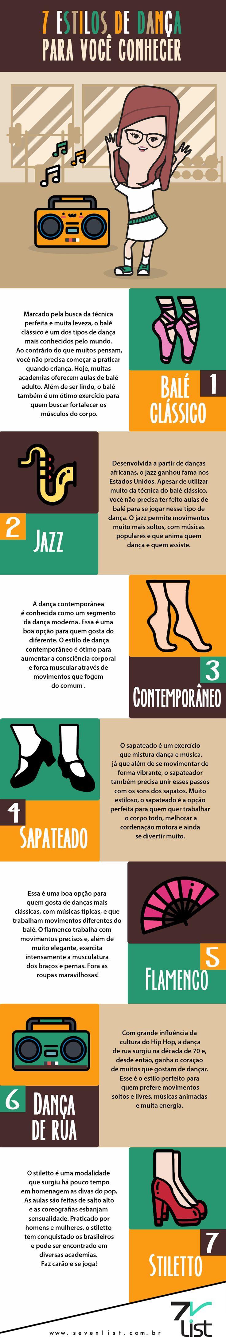 A dança é uma atividade realmente incrível. Além de mexer com todo o corpo, ela também traz a sensação de bem-estar. Pensando nisso o Seven List separou uma lista super especial com 7 estilos de dança para você conhecer. #SevenList #Ilustração #Infográfico #Desenho #Dançar #Danças #Ritmos #Música #Corpo #Saúde #Atividadefísica #Baléclássico #Jazz #Contemporâneo #Sapateado #Flamenco #Dançaderua #Stiletto #Movimento