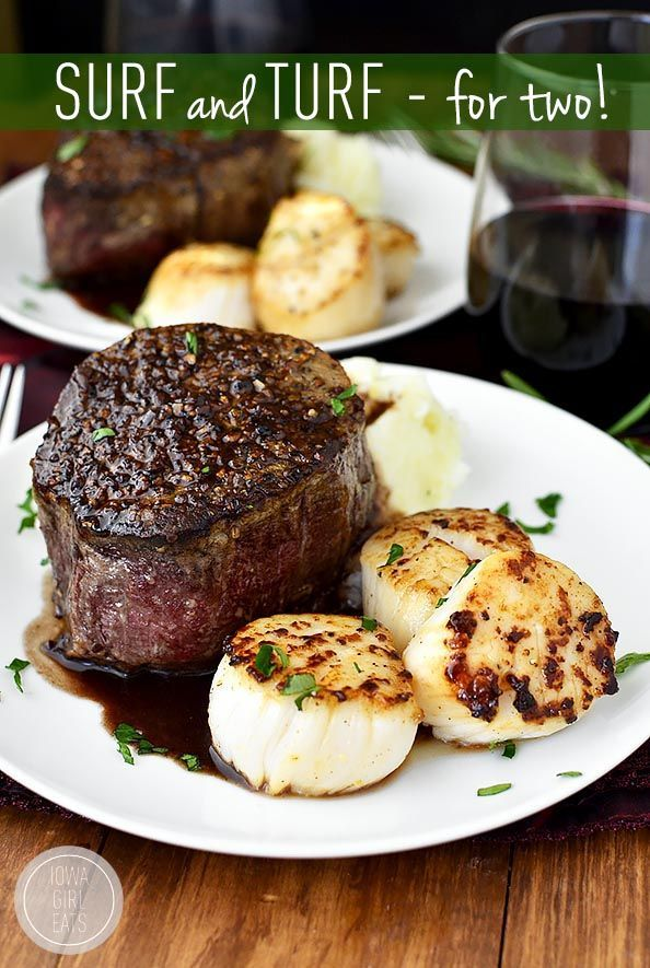 Surf and Turf for Two with sea scallops and filet mignon with rosemary-wine pan sauce is an...
