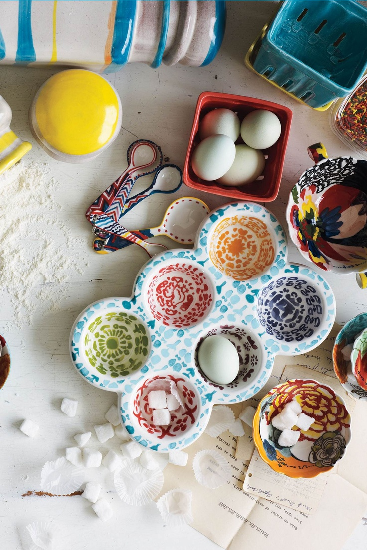 Oh Anthropologie... Love these Painted Amaryllis Measuring Cups