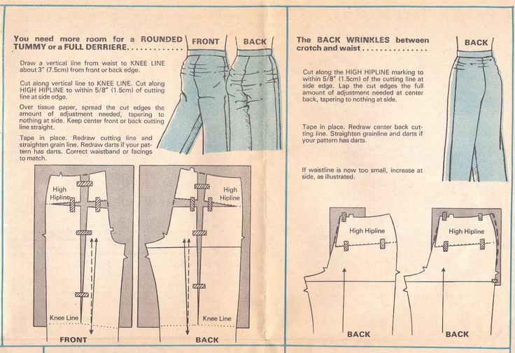 Altering your pants pattern for a rounded tummy or full derriere or swayback