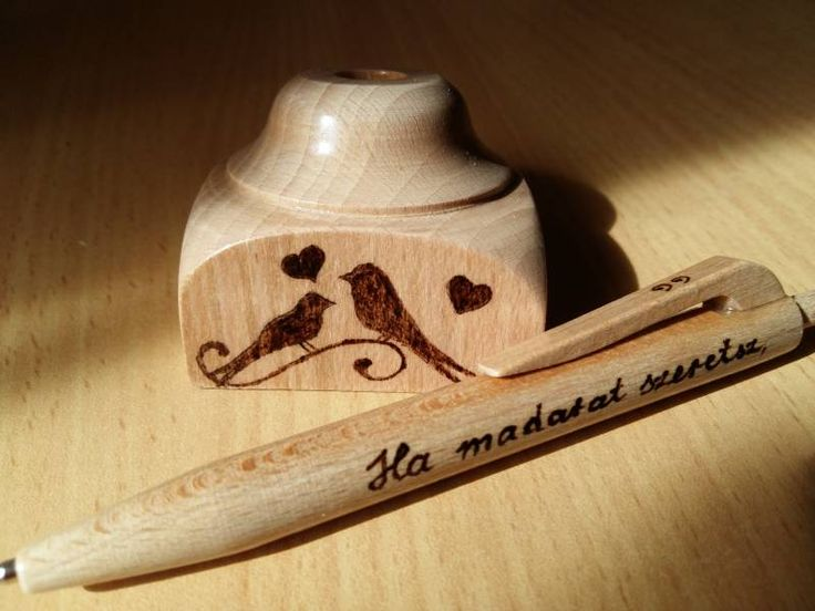 Fa írószerek, ajándékok - Fa toll asztali tartóval - Asztali tartóval ellátott fa toll - Madárkák -