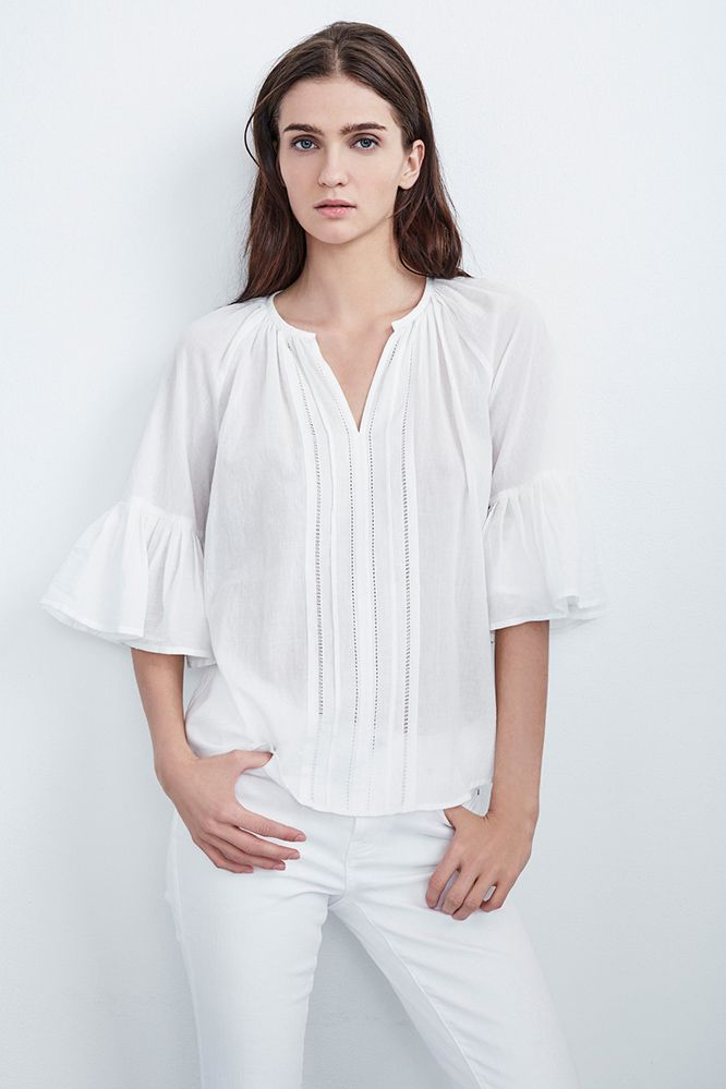 Official Site Wholesale Price Cheap Price Velvet By Graham & Spencer Woman Celina Open Knit-trimmed Cotton-voile Blouse Ivory Size S Velvet Cheap Sale Official Site Looking For Cheap Online Marketable Cheap Online tu1Cp1gFBi