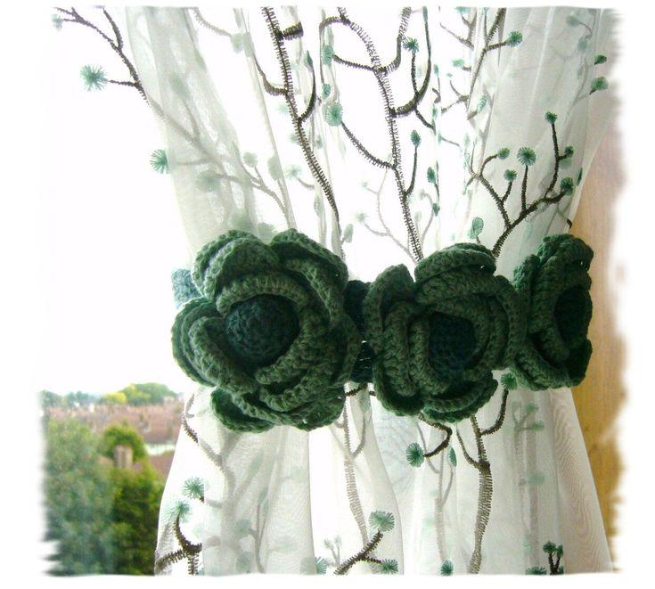 Pair of Curtain Tie Backs Hand Crochet  Romantic Roses.