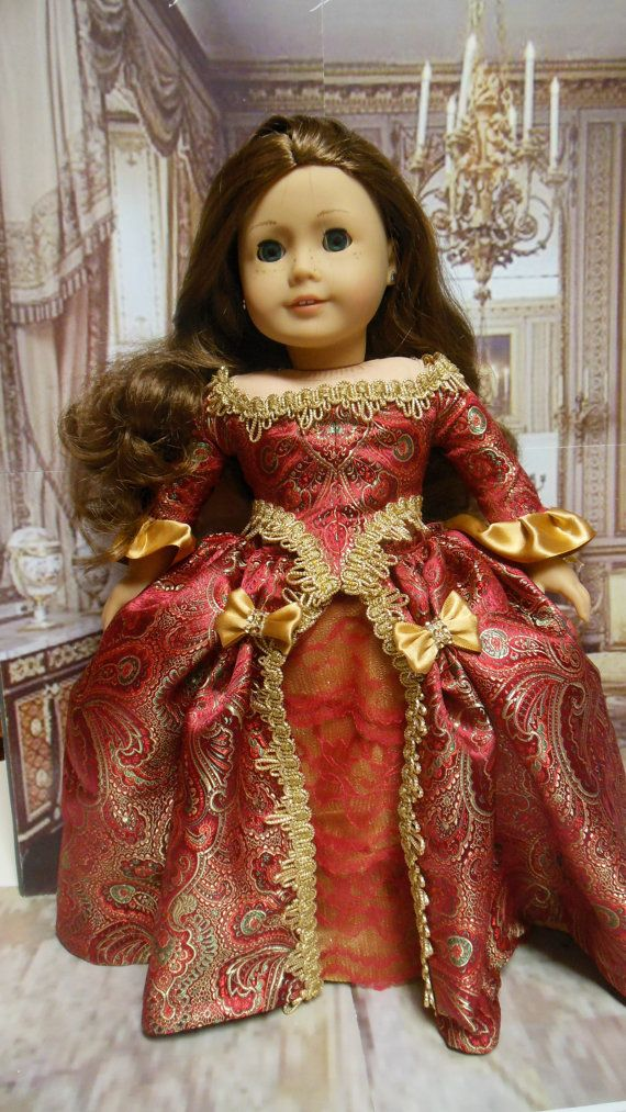 "Historical American girl doll clothes ""Scarlet Elegance"" (18 inch doll) 1700s evening gown, Colonial, Marie Antionette,  Elizabethan"