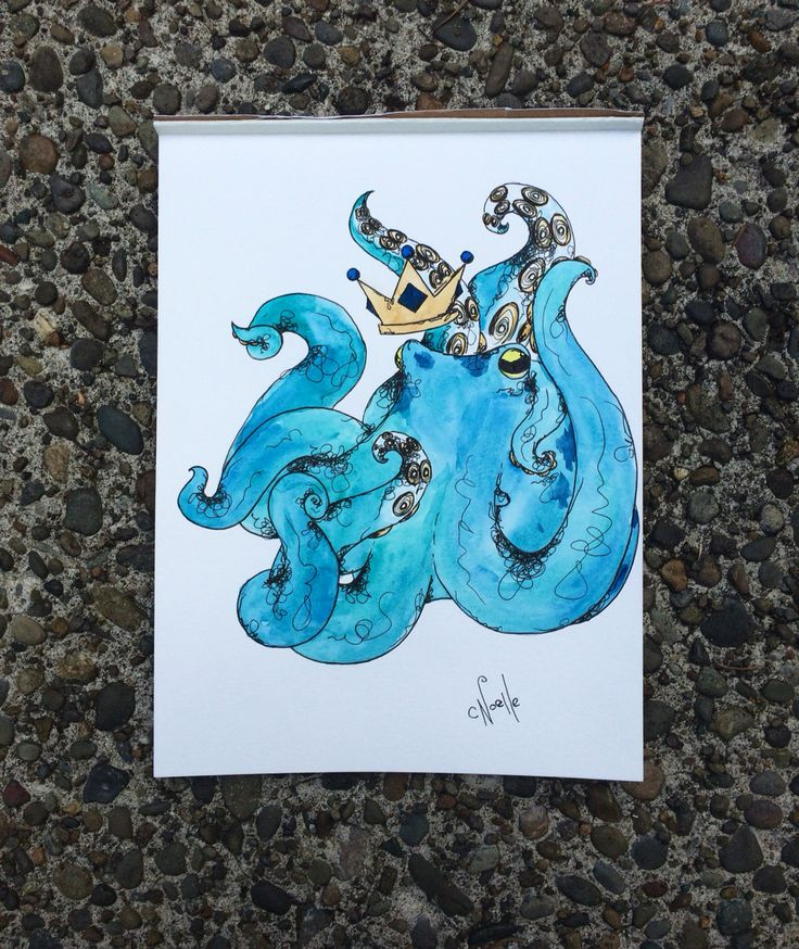 "Nobel octopus for sale on 9""x12"" watercolor paper"