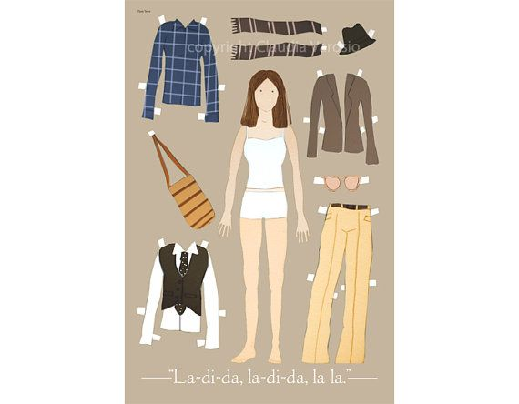 The Annie Hall paper doll 12x18 inches print by ClaudiaVarosio, £12.00