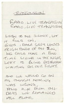 "Original handwritten lyrics for Joy Division's 1979 single ""Transmission"""