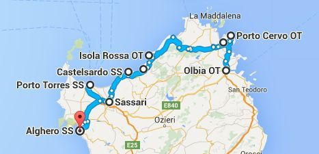 roadtrip-noord-sardinie-route
