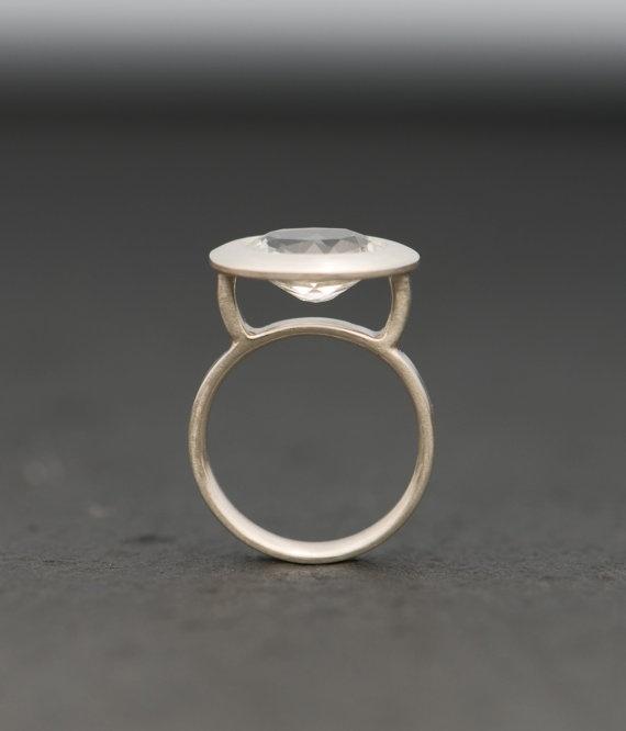 White Topaz Ring Silver Size 55 by williamwhite on Etsy, $140.00