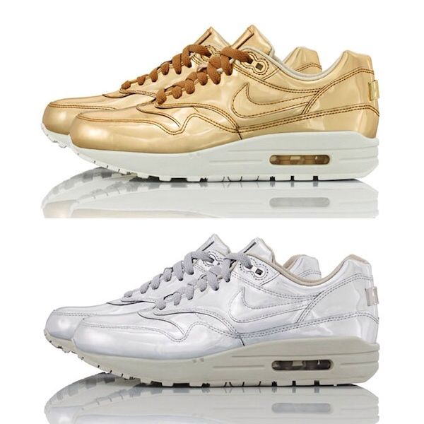 Both the Liquid Silver & Liquid Gold colourways from the #NIKE #AIRMAX 1 SP