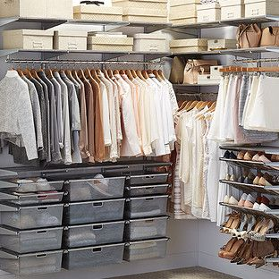 Platinum elfa Walk-In Closet |  Perfect customizable closets with storage for everything.  30% off all Elfa products & the cost of installation right now. (1/16)