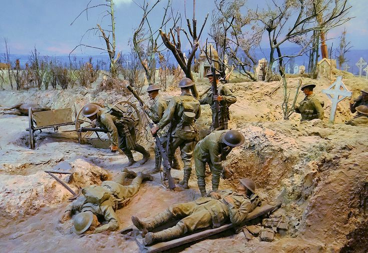 The 52nd Battalion position near the cemetery just short of the quarry to the left. Dernancourt diorama in the Australian War Memorial.