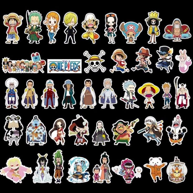 100pc/Lot One Piece Doodle Cartoon Anime Stickers For Laptop Phone Luggage Notebook Skateboard Snowboard PVC Waterproof Stickers