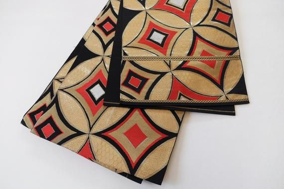 Black & Gold Obi Symmetric Pattern Fukuro Obi Kimono