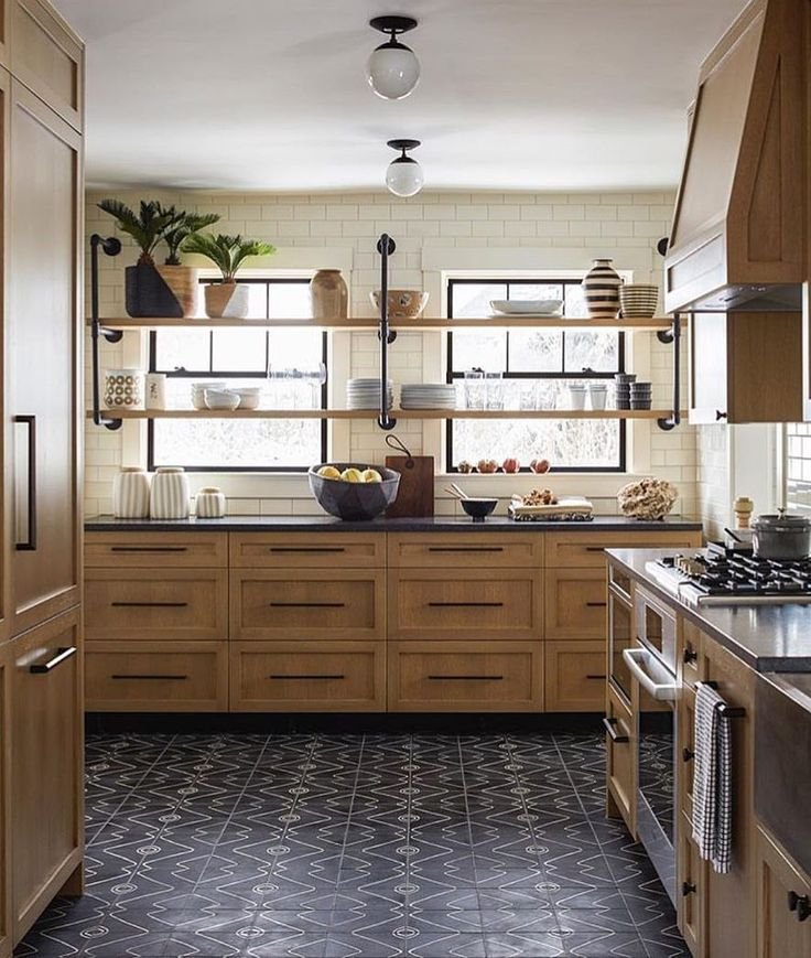 "571 Likes, 10 Comments - @scoutandnimble on Instagram: ""Loving the natural cabinets paired with the patterned tile in this incredible kitchen belonging to…"""